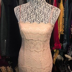 Trio NY fitted nude lace midi dress, size 6